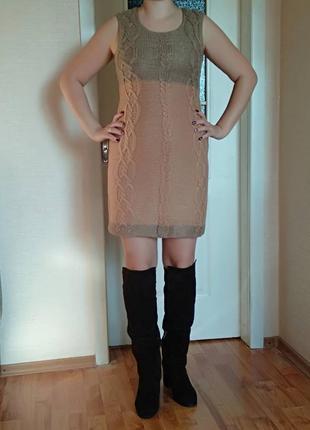 Безумно красивое и оригинальное  теплое платье миди