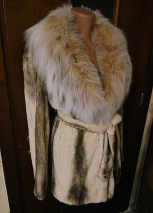 Роскошная норковая шуба полушубок . мех норки и воротник рысь