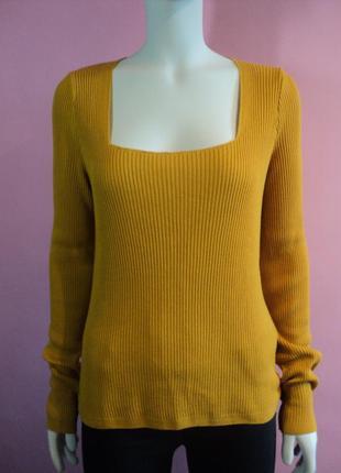 Джемпер asos рубчик лапша горчичный декольте гольф свитер трикотажный вырезом желтый