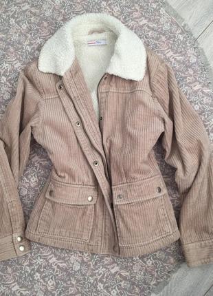 Вельветовая курточка тедди на овчине