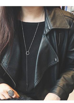 Длинная цепочка ожерелье серебристого цвета