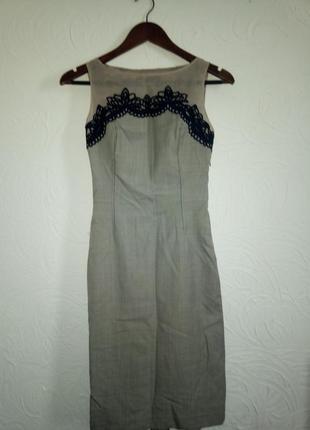 Платье футляр со шлицей шерсть шёлк органза евро 6-8