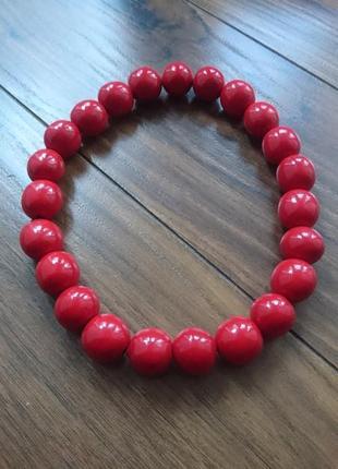 Бусы деревянные красные ожерелье