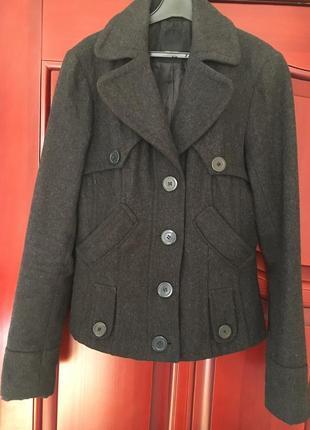 Тёплое укороченное пальто 50% шерсть