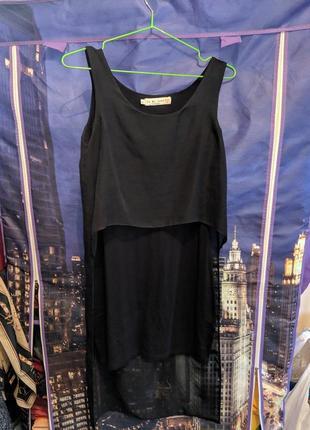 Черное платье oh my love с шифоновой вставкой