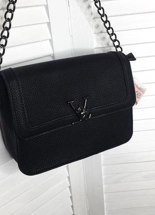 Чёрная базовая сумка клатч на ручке цепочке