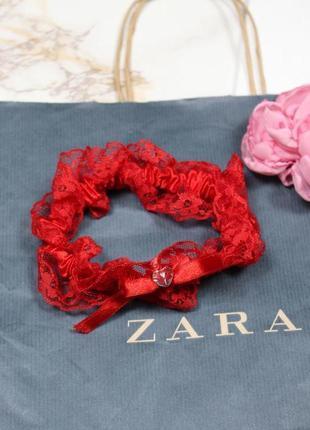 Обнова! подвязка красная кружевная с бантом новая