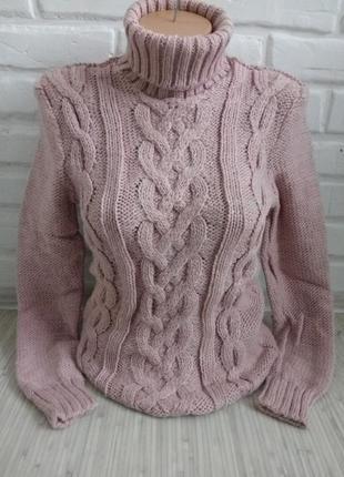 Свитер вязаный теплый с горлом#свитер гольф#свитер женский