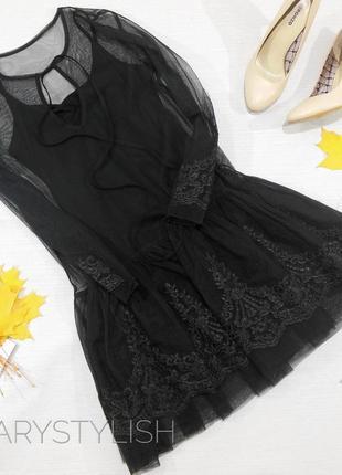 Платье красивенное,  майка и гипюр верх