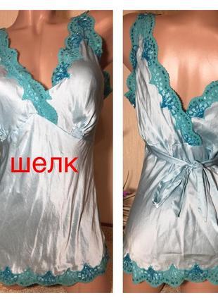 Красивая шелковая блуза-майка натуральный шелк нарядная блузка с кружевом