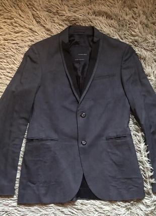 Пиджак мужской тёмно-серый с чёрным zara man black tag зара размер 50