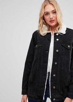 Удлиненная джинсовая куртка на меху denim wea by chicoree