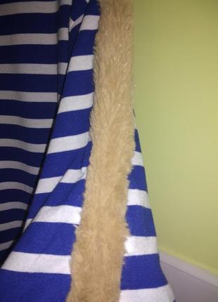 Супер стильная кофта в полоску с меховой отделкой в стиле оверсайз от zara3 фото