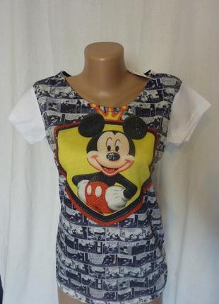 Love moschino, футболка с мышкой в камнях, размер l, привезла из турции