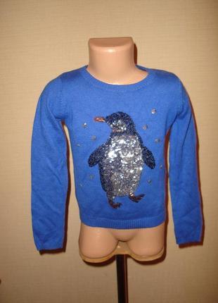 Свитер с пингвином на 5-6 лет, новогодний свитер  от marks&spencer
