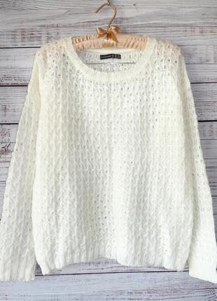 Белоснежный ажурный свитер джемпер
