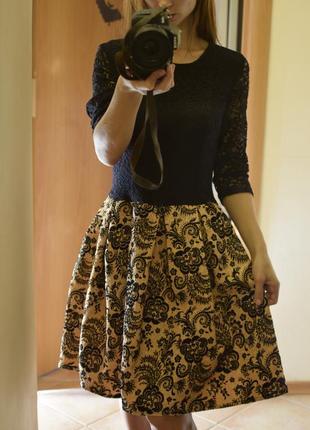 Нарядное платье кружево юбка пачка