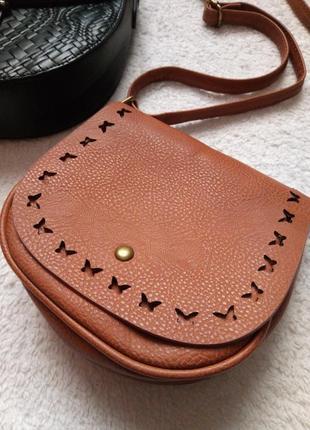 Стильная маленькая сумочка, коричневая сумочка,сумка на длинной ручке, с бабочками