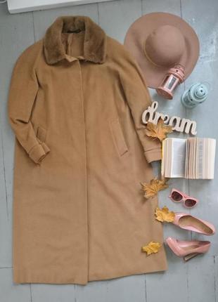 Актуальное винтажное шерстяное драповое пальто кемел высокий рост