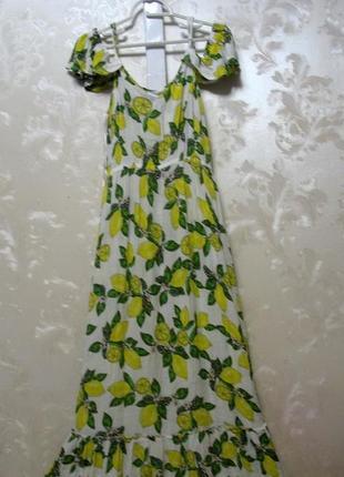 Вискозное платье в пол  с лимонами с открытыми плечами и воланом внизу redherring