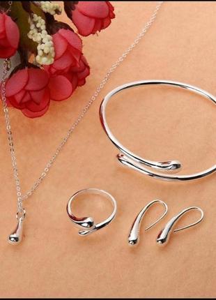 """💣супер ціна!шикарный набор """" серебряная капля"""" стерлинговое серебро 925 .комплект."""