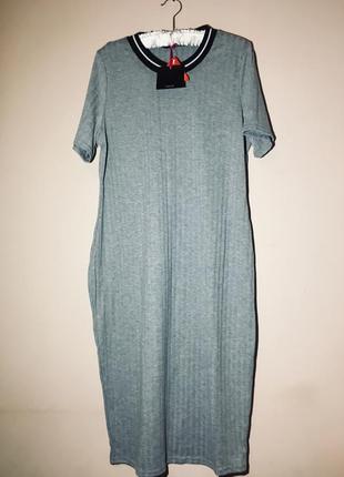 Платье-футболка в рубчик длина миди 20р.