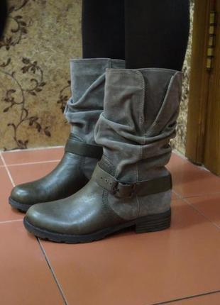Кожаные сапоги ботинки в стиле милитари