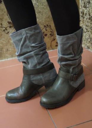 Кожаные сапоги ботинки в стиле милитари2 фото