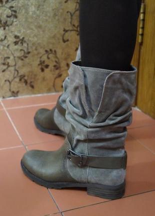 Кожаные сапоги ботинки в стиле милитари4 фото