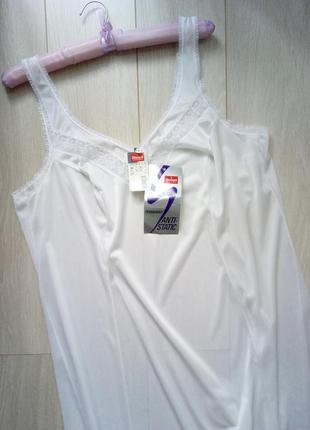 Ночная рубашка, сорочка, ночнушка белая в винтажном стиле на широких бретельках