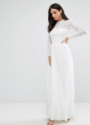 Club l романтична біла сукня ажурний верх