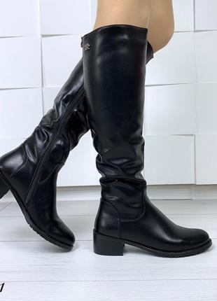 Зимние сапоги на низком каблуке. размеры с 36 по 40