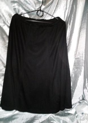 Юбка трикотажная, черная, расклешенная,3 фото
