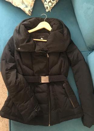 Зимняя удлинённая куртка , пуховик zara пух перо