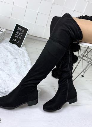 Шикарные замшевые ботфорты на низком каблуке. размеры с 36 по 40