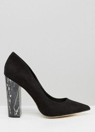 Замшевые туфли толстый высокий каблук мрамор лодочки