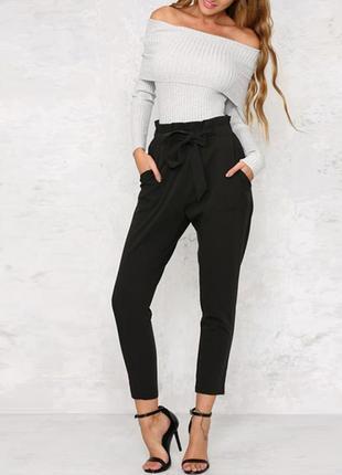 Трендовые брюки штаны с высокой посадкой завязками на талии с карманами хаки р. s m