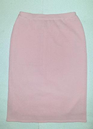 Стильная прямая юбка карандаш, цвет пудра, демисезон, еврозима, в составе шерсть