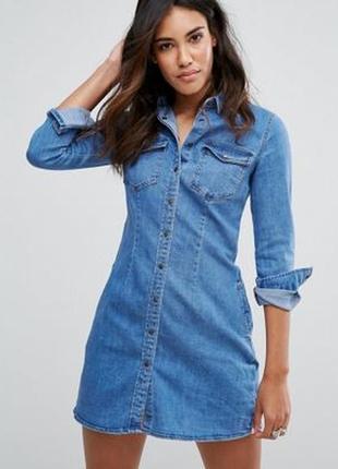 Идеальное джинсовое платье деним с длинным рукавом pimkie