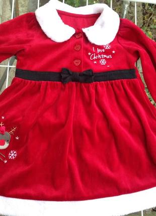 Платье новогодние на девочку 12-18мес (80-92см)