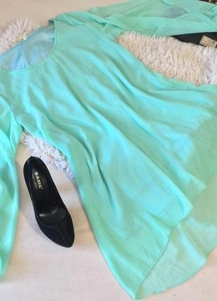 Шикарное платье ментолового цвета из воздушного шифона с удлиненной спинкой 40/42р.👑🕶🔥