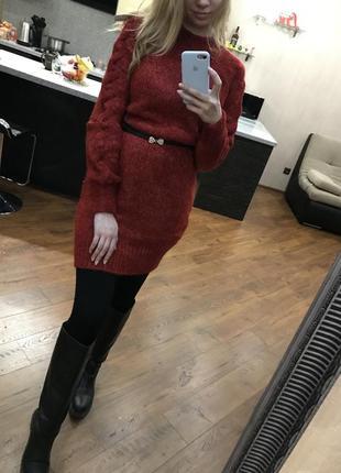 Стильное вязанное платье туника с-м,свитер гольф