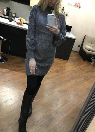 Стильное вязанное платье-туника с-м, свитер, гольф