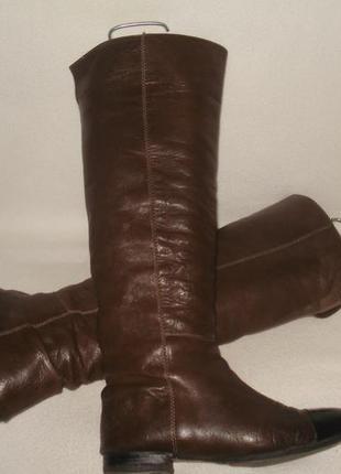 39 р./25.5cм. полностью кожаные высокие сапоги/трубы
