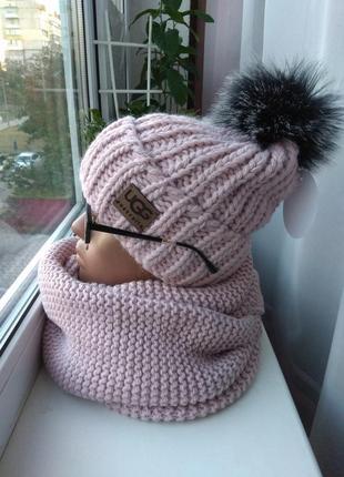 Новый модный комплект: шапка (на флисе) и хомут восьмерка, розовая пудра