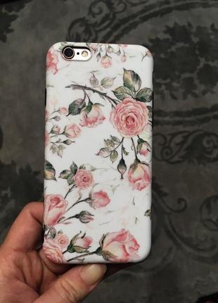 Нежный силиконовый чехол с розами на айфон iphone 6/6s