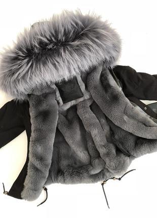 Зимняя  черная  парка mr&mrs furs с шикарной опушкой