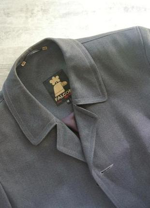Мужское шерстяное пальто серое шерсть falcon