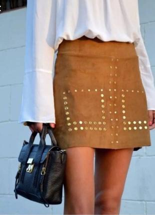 Супер стильная трендовая юбка мини zara под замшу