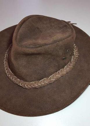Шляпа ковбойская genuine leather, кожаная, 56-57 р, новая!